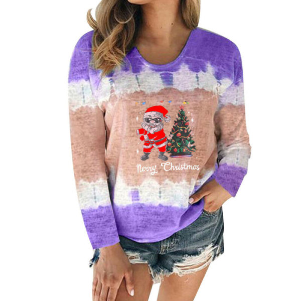 Womens Christmas Gradient T-shirt Long Sleeve Tee Blouse Autumn Rose Red L