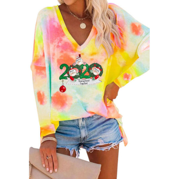 Womens Christmas Long Sleeve Tops Tie Dyed V-Neck Santa Printed Pink L
