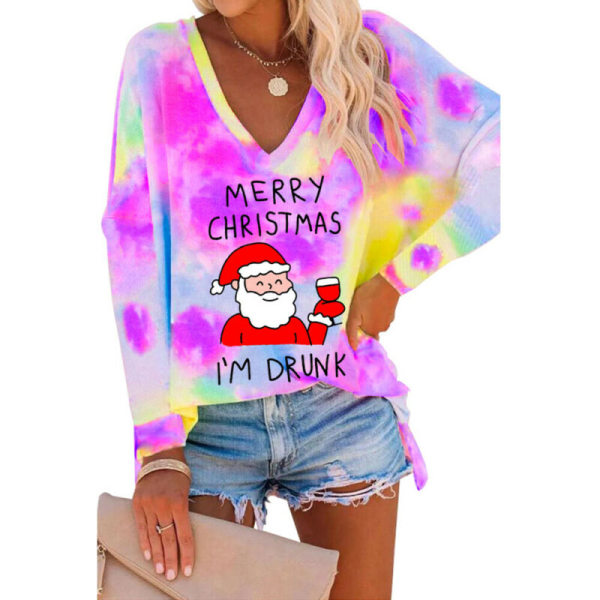 Womens Christmas Santa Claus Tie Dyed V-Neck Blouse Long Sleeve Black 3XL