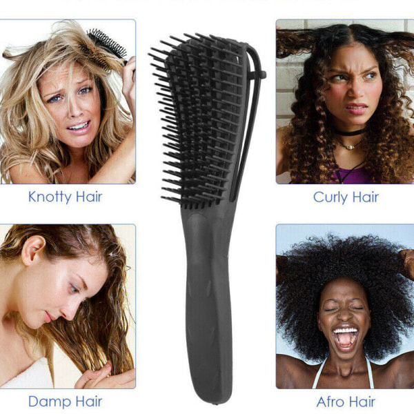 Womens Kids Smooth Detangler Hair Brush to 4c Kinky Wavy Cur Green