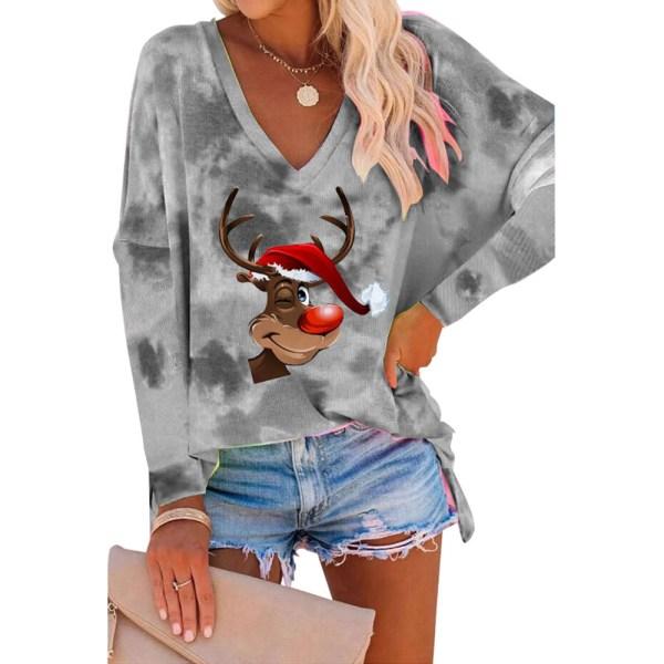 Womens Long Sleeve ELK Printed Christmas T-Shirt Blouse V-Neck Black S