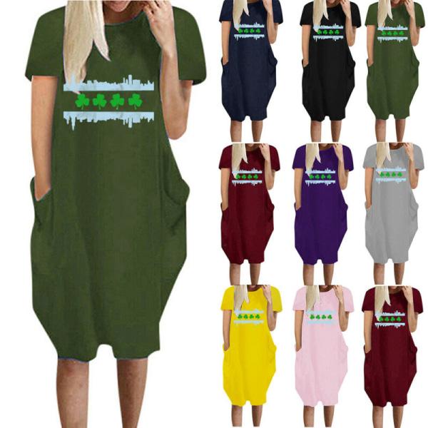 Kvinnors kortärmad, löstryckt klänning Casual tröja plus storlek Navy Blue 4XL