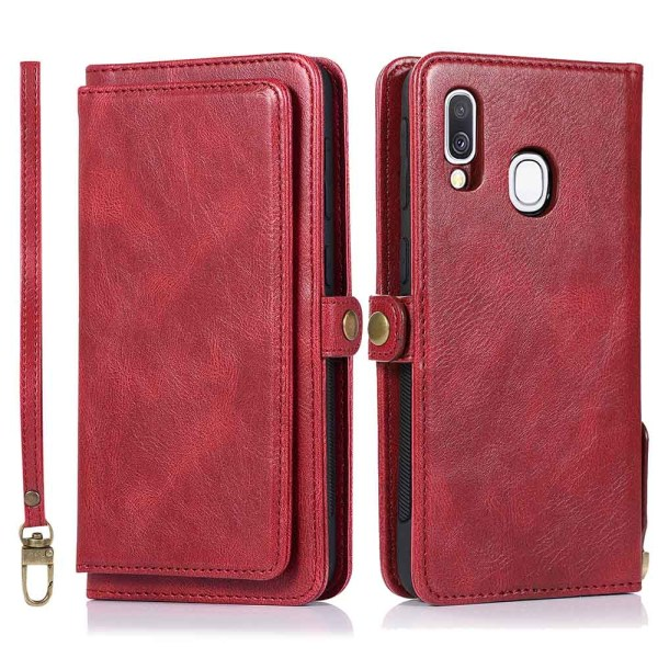 Samsung Galaxy A40 - Robust Plånboksfodral Dubbelfunktion Röd