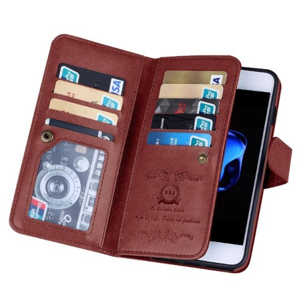 Elegant Robust 9-korts Plånboksfodral för iPhone 8 FLOVEME Brun