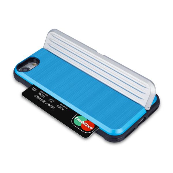 iPhone 7 - Stilrent Skal med kortplats och mobilställ Röd