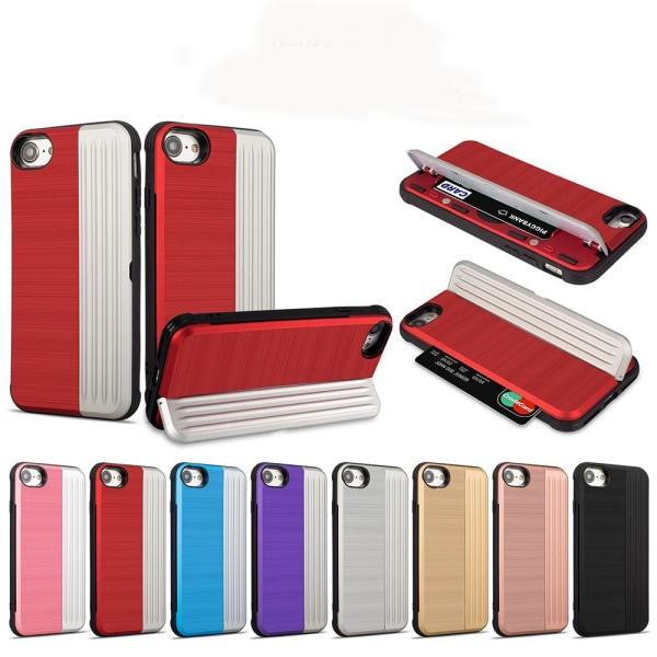 Klassiskt Skal med korthållare från LEMAN - iPhone 7 Röd