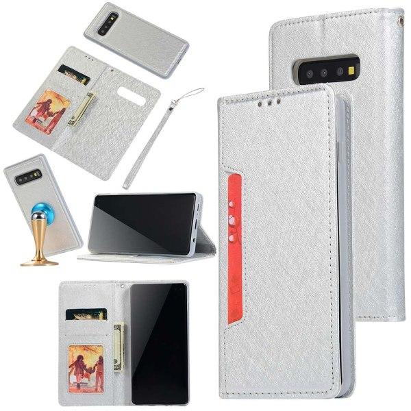 Samsung Galaxy S10 Plus - Genomtänkt Plånboksfodral Silver