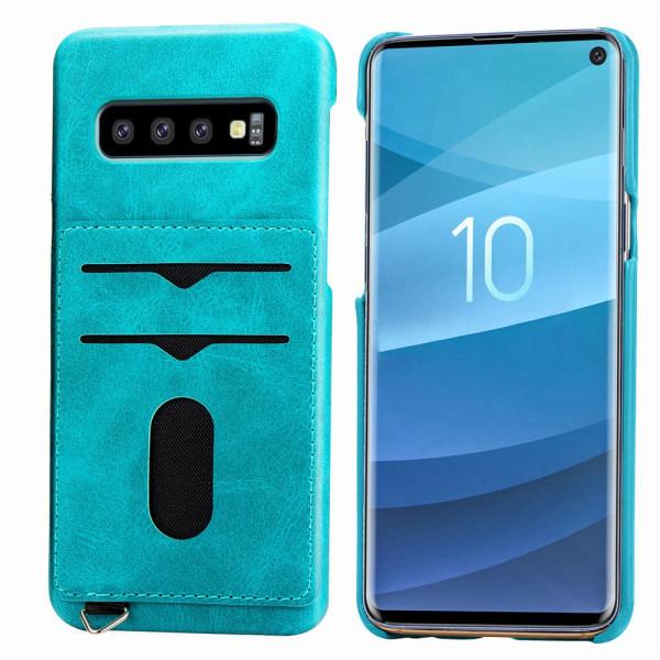 Praktiskt Skal med Korthållare (LEMAN) - Samsung Galaxy S10+ Blågrön