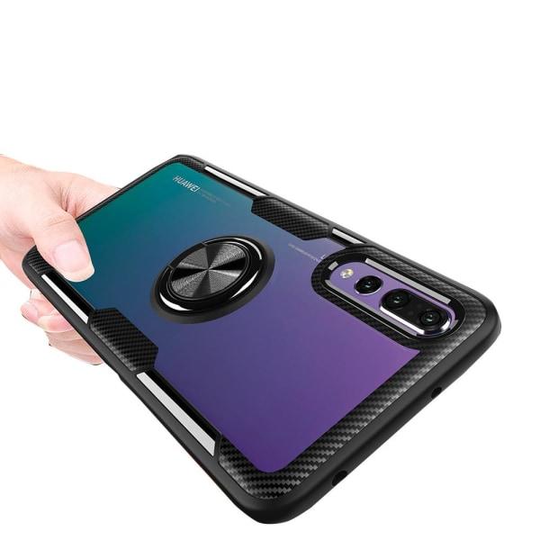 Skal med Ringhållare (LEMAN) - Huawei P20 Pro Svart/Silver