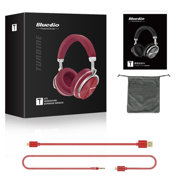 Bluedio T4S Trådlös Bluetooth Stereo hörlurar Active Noise-cance Red