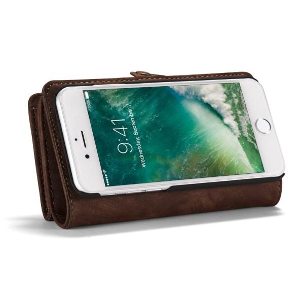 CASEME iPhone 8 / 7 / SE Retro Split läder plånboksfodral - Brun Brun