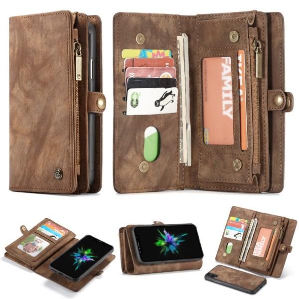 CASEME iPhone XS Max Retro Split läder plånboksfodral - Brun Brun