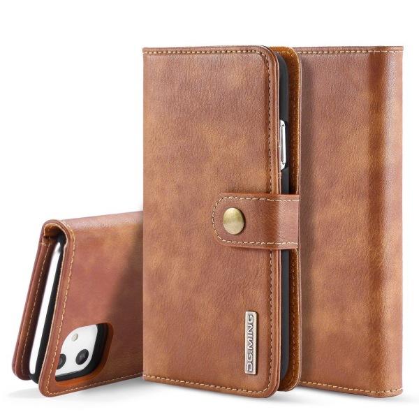 DG.MING iPhone 11 Split Läder Plånboksfodral - Brun Brown