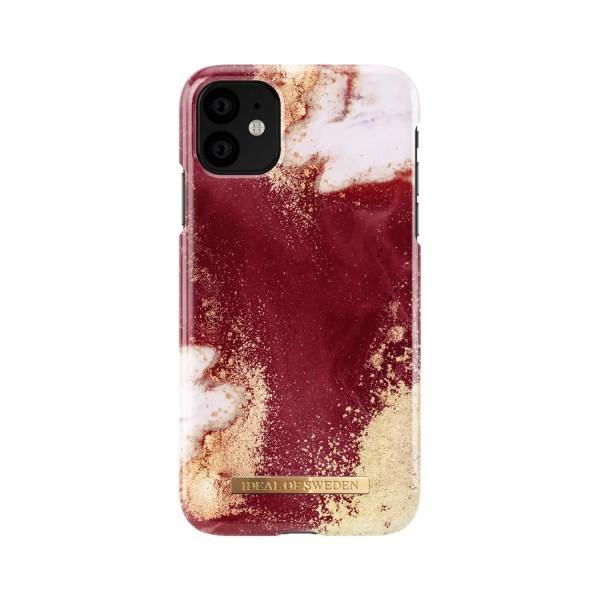 iDeal Of Sweden iPhone 11 skal - Golden Burgundy Marble Röd