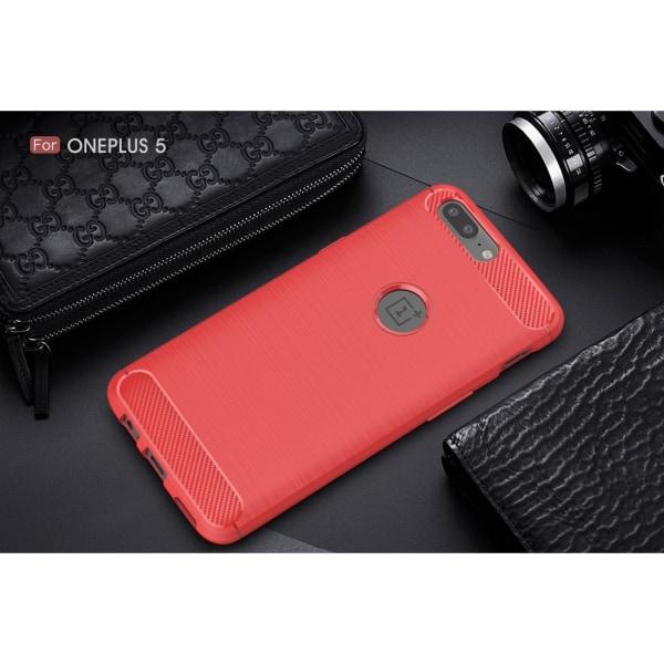 OnePlus 5 Karbon fiber Skal - Röd Svart