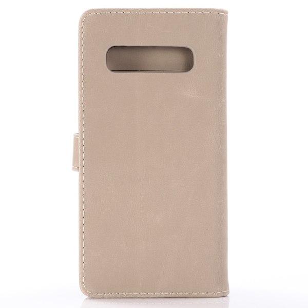 Samsung Galaxy S10+ Retro Plånboksfodral - Grå Beige