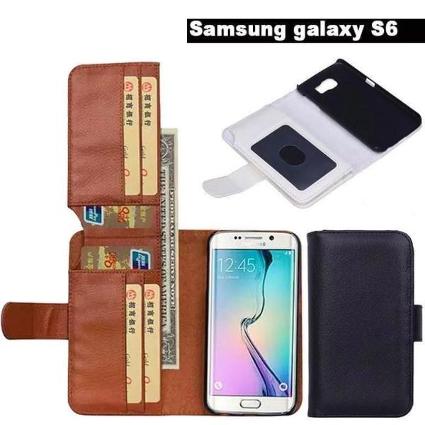 Samsung Galaxy S6 Edge Plus Plånboksfodral med 6 kortplatser Vit