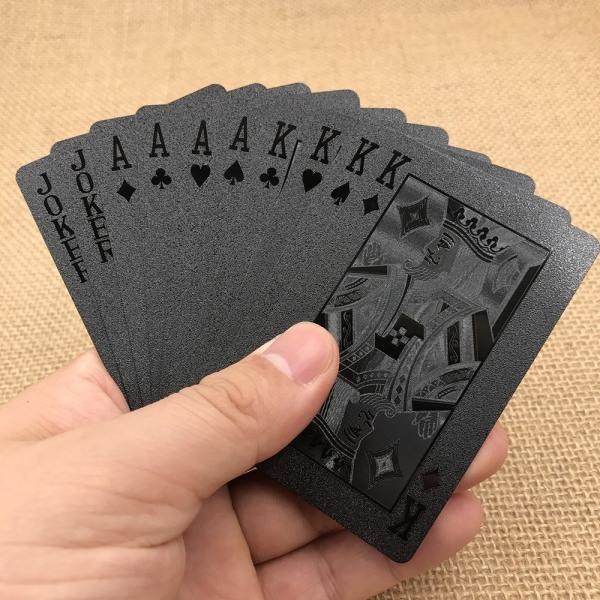 Svart Plast PVC Poker Vattentäta Spelkort Kortlek Svart