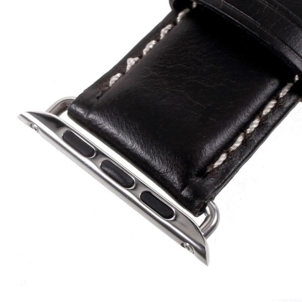 Vintage Äkta Läder Rem för Apple Watch 3/2/1 38mm - Svart Svart