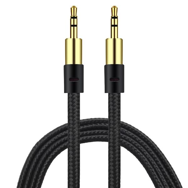 AUX Kabel 3.5mm  | Guld pläterad | slittålig kabel SVART