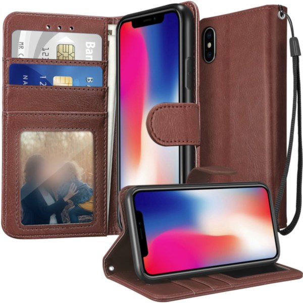 Plånboksfodral iPhone X / Xs  Läder   2 kort + ID  ALLA FÄRGER svart
