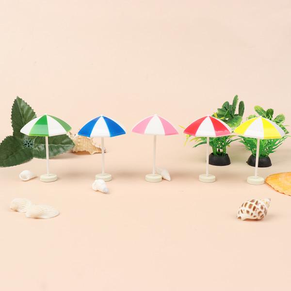1/12 dockhus miniatyrstrandsolparaply färgglada scener deco