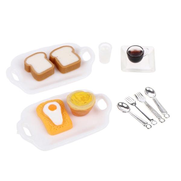 1:12 dockhus miniatyr frukost set hamburgare croissant toast