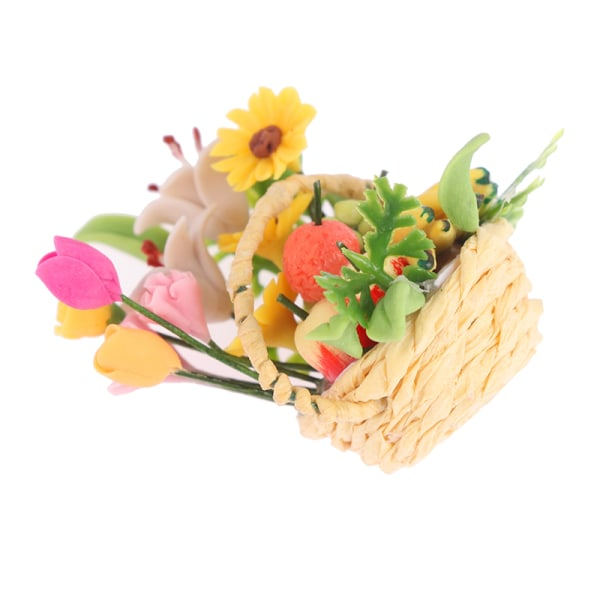 1:12 DollHouse Miniature Flowers Basket Mini Fruit Basket Flower