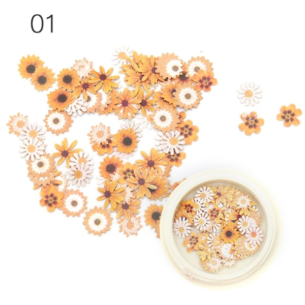 1 låda Torkade blommor Nageldekorationer Färgglada Naturliga torra F