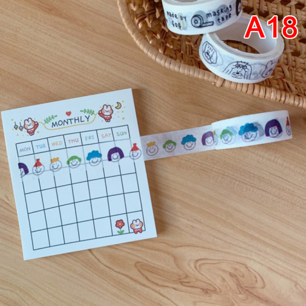 1 rulle Simple Cloud Face Tape Cute Bear Heart Hand-torn klistermärke