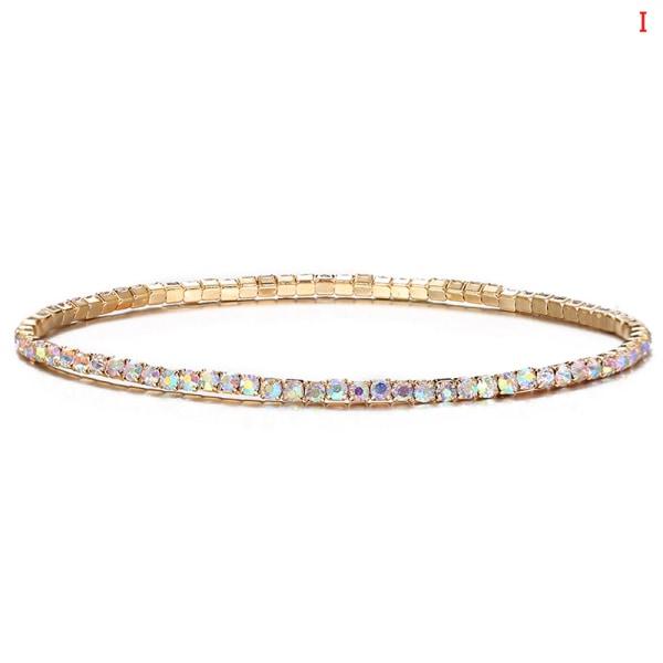 1 st elastiska kvinnor armband legerade runda facetterade kristallpärlor br I