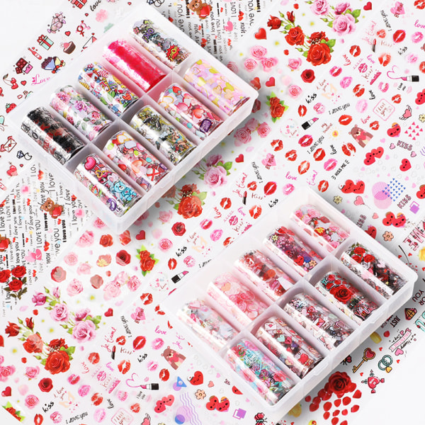 10 Roll Valentines Nail Foils Transfer Decals Heart flower DIY  A5