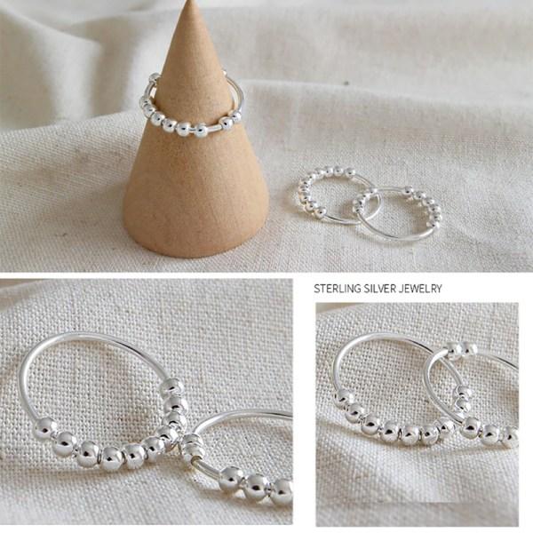 100% 925 sterling silver pärlstavar öppna ringar för kvinnor ins enkelt