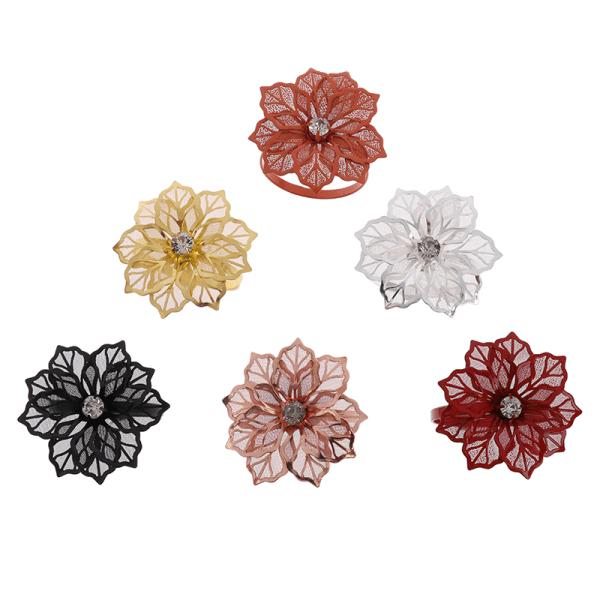 10st Flower Design Servettringar Metal Gold Servett Buckle Servett