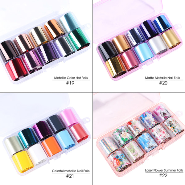 10Pcs Holographic Nail Foil Flower Starry Sky Manicure Stickers 22