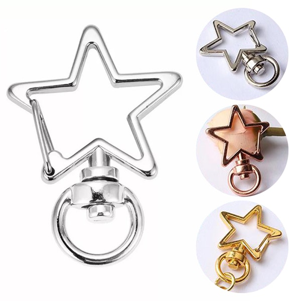 10st Ny stjärna ihålig nyckelring nyckelring nyckelring DIY tillbehör