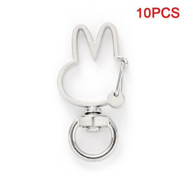 10st kanin ihålig nyckelring nyckelring nyckelring DIY tillbehör