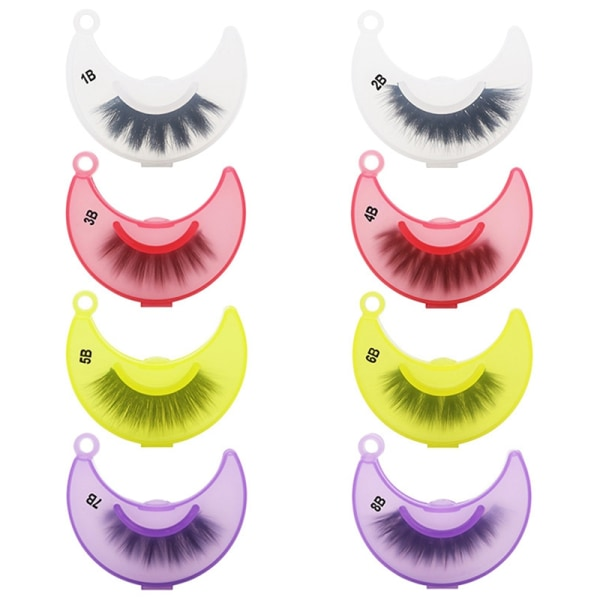 10pcs/Set 3D Mink Lashes Fluffy Mink Eyelashes Makeup Natural E Yellow 7B