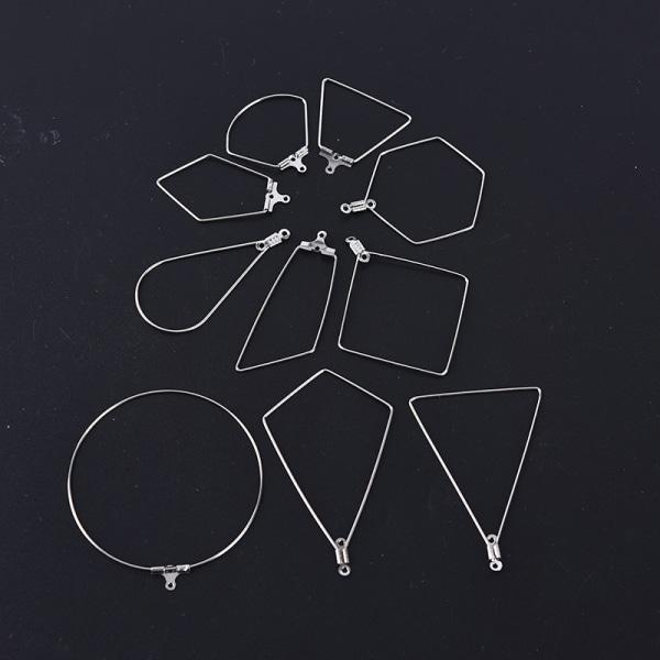 10st rostfritt stål geometri örhänge krok ram kontaktdon DIY