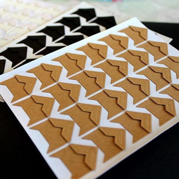 120PCs/lot (5 sheets) DIY Vintage Corner kraft Paper Sticker Ph P7