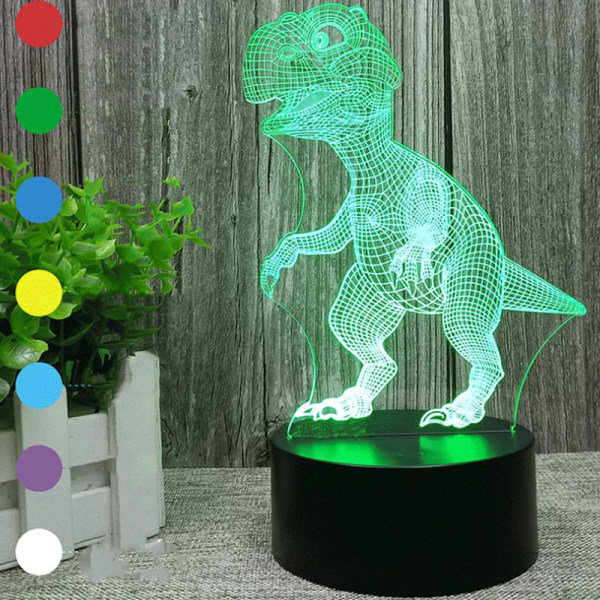 13 Style Dinosaur Series 3D LED Night Light Lamp 16Color Remote M
