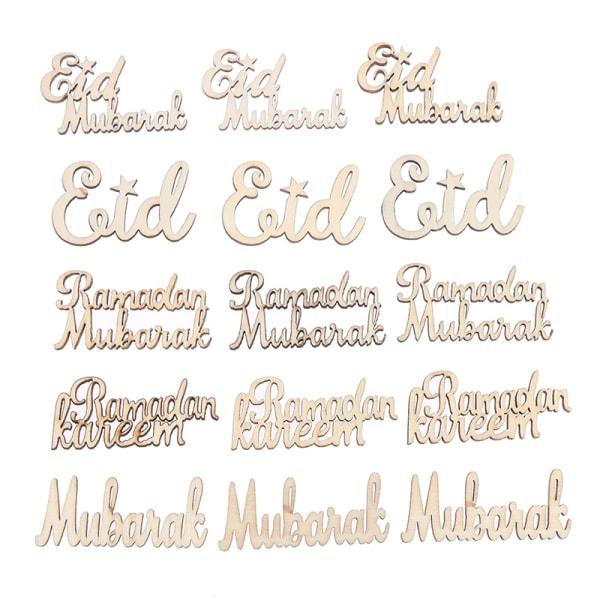 15pcs Ramadan Kareem Decoration Wooden Craft Hanging Pendant Ei 4