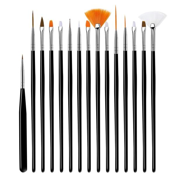 15pcs UV Gel Acrylic Nail Art Brush Nail Ombre Brush For Manicu BLAKC