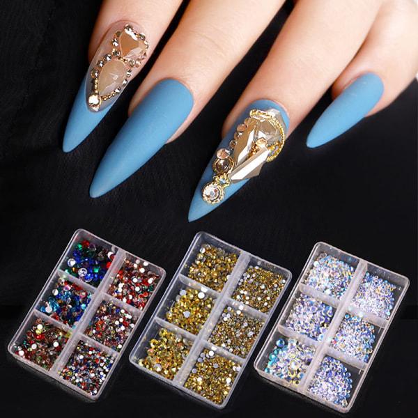 1Box Crystal Nail Art Rhinestone Gold Silver Flat Bottom Mixed S