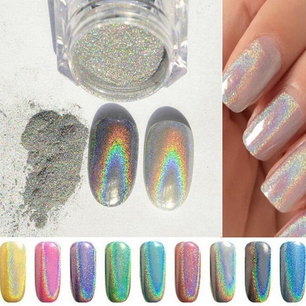1g Holografisk Holo Chrome Glitter Powder Dust 3D Nail Art Deco