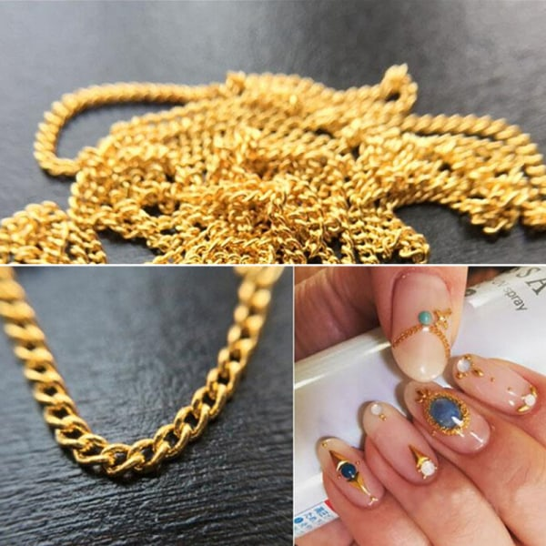 1m Nail Art Tips Stickers Metal Glitter Striping Chain Decorati Silver