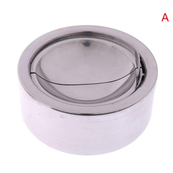 1 st Lågad askkopp rostfritt stål silver vindtät askfat med