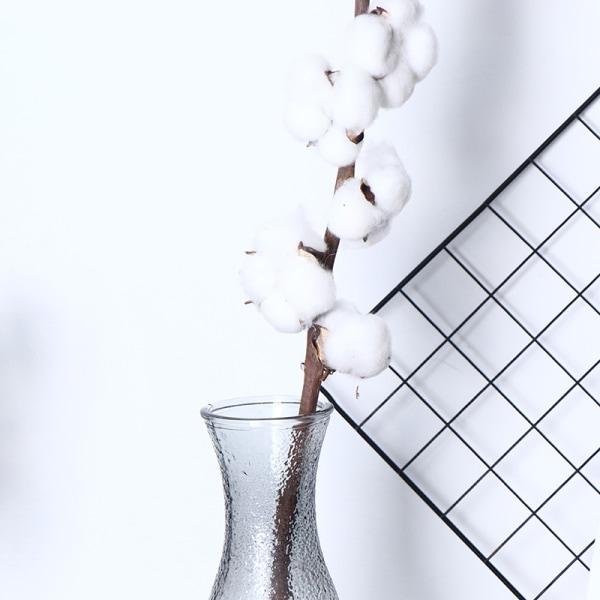1PC Naturligt torkade bomullsblommor Konstgjorda växter Blomklid