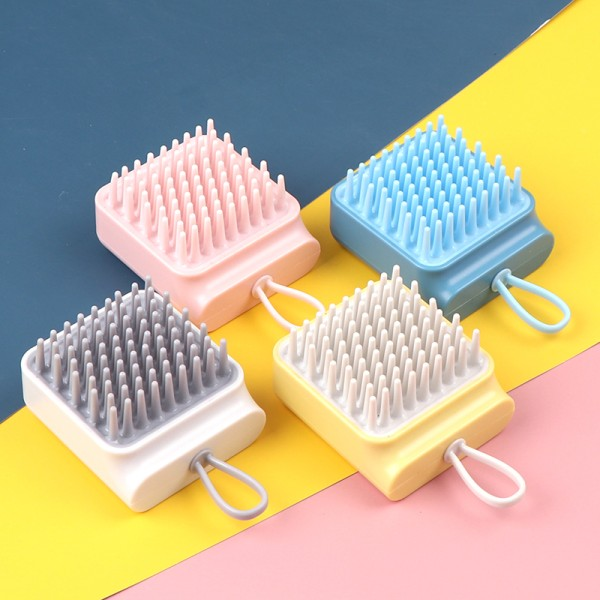1PC Silicone Head Hair Washing Comb Body Massager Shampoo Scalp Pink