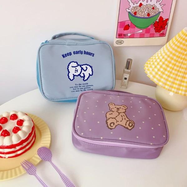 1pc Women Cartoon Korea Bear Zipper Cosmetic Bag beauty Case Ma Pink